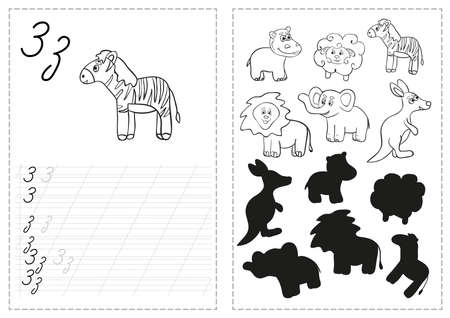 Set of tracing worksheet with animal illustrations