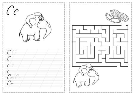 Letters on a tracing worksheet with a maze and elephants