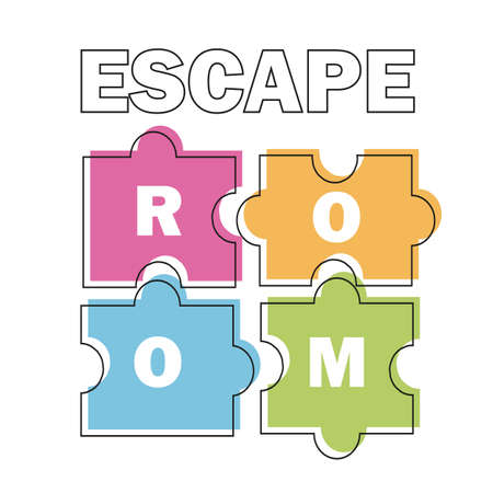 Escape room. Vector illustration poster, banner on white background puzzle