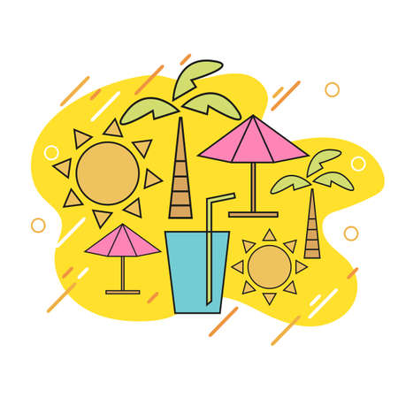 Vector summer with linear icons and signs travel and vacation concept