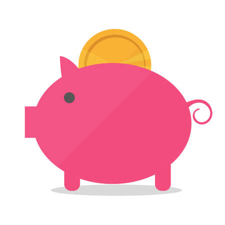 Pig piggy bank with coin vector illustration in flat style