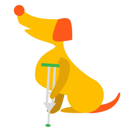 Vector Illustration Of Cute Dog Or Puppy. Sick Dog With wounded Leg. Veterinary