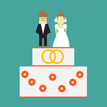Wedding cake with rings and toppers bride and groom vector greeting card Illustration
