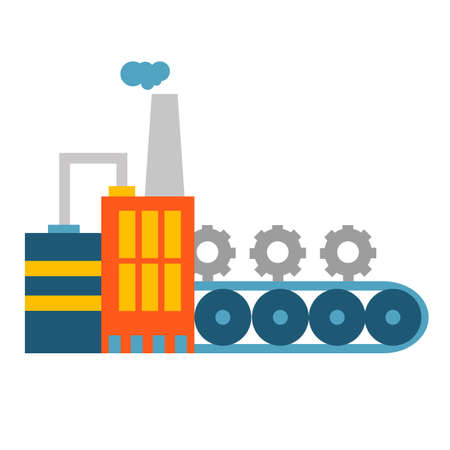 Vector illustration of creative professional mechanism with conveyor to produce new spare parts on white background.