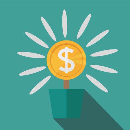 Flat, potted money dollar flower for monetary success illustration. Illustration