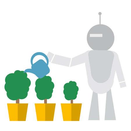 Modern Robot Watering Flowers Artificial Intelligence Technology Concept Flat Vector Illustration