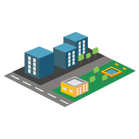 Vector isometric icon or infographic element representing Residential area of the city
