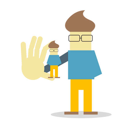 Self presentation. Young character holding his 3D model on the palm flat editable vector illustration, clip art