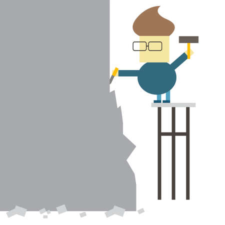 Man makes statue from a large piece of stone vector illustration Çizim