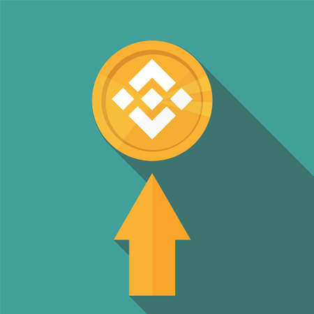 Flat design golden coin Binance Coin - BNB, digital cryptocurrency. Vector illustration isolated on blue background Illustration