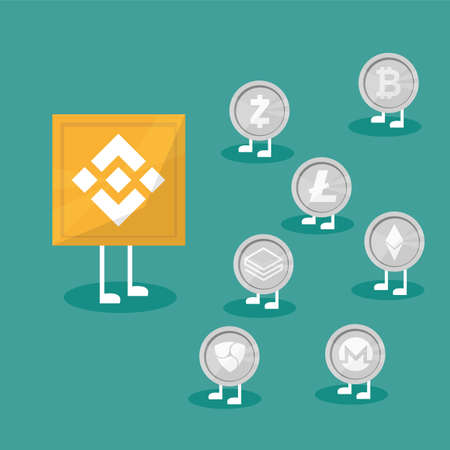 Blockchain binance - Cryptocurrency exchange technology. Vector Illustration in flat design style. Business concept Illustration