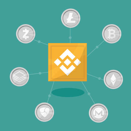 Blockchain binance - Cryptocurrency exchange technology. Vector Illustration in flat design style. Business concept Stock Photo