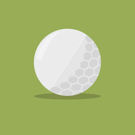 Golf ball flat icon with shadow on green background. Vector Illustration in simple flat design