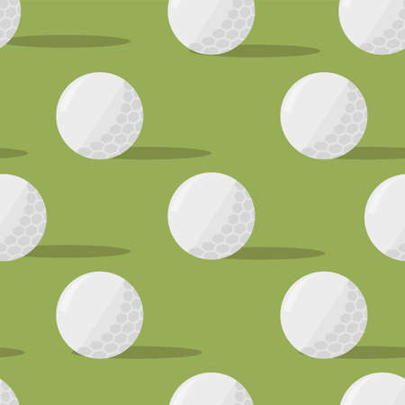 Golf balls in seamless pattern on green background.