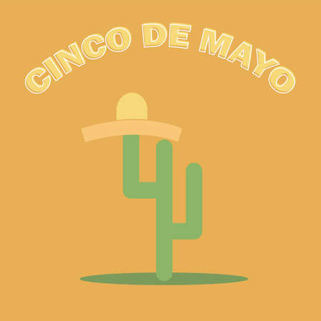 Cinco De Mayo sombrero and cactus - festive flat design. For celebration of the Mexican holiday on May 5 - vector Illustration