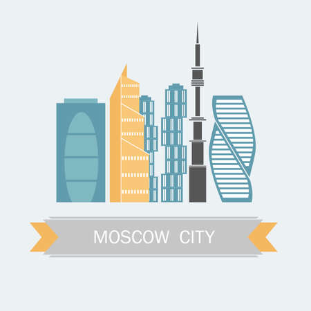 Banner of Moscow city in flat line trendy style. Moscow city flat art. All buildings separated and customizable.