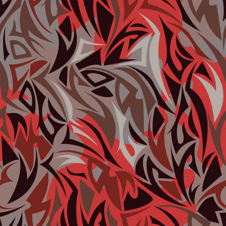 Multilayer Maori style seamless pattern in red color