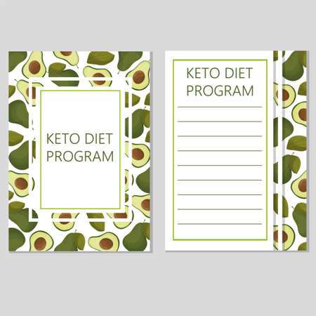 ketogenic diet template, low carbs, high healthy fat - vector with avocado