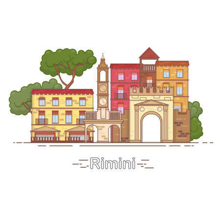 Italy Rimini outline city skyline, linear illustration, banner, travel landmark - buildings vector