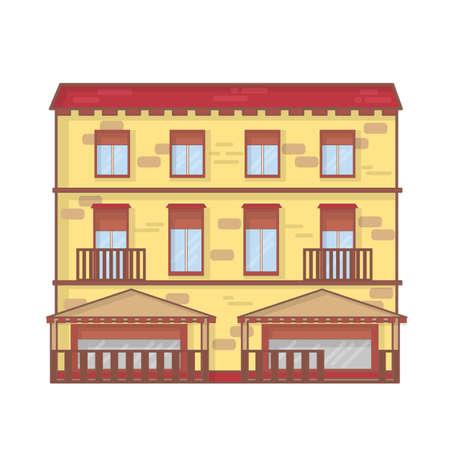House architecture outline vector illustration. House architecture line art concept. Cottage landscape outline graphic design Stock Illustratie