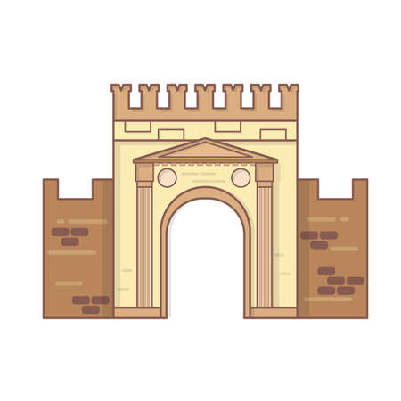 Rimini, Emilia Romagna, Italy Arch of Augustus vector, ancient romanesque gate of the city - historical italian landmark, the most ancient roman arch that still stands intact Illustration