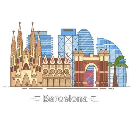 Minimal Barcelona City Linear Skyline - outline city buildings, linear illustration, travel landmark Vettoriali