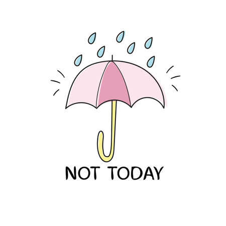 Hand drawn poster with umbrella and raindrops on white background. Vector illustration Used for greeting cards, posters and print invitations
