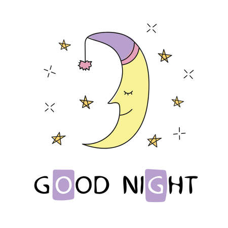 Cute sleeping crescent moon in the night sky. Hand-written inscription good night. Vector illustration is suitable for greeting cards, posters and prints on t-shirts