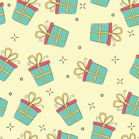 Gift boxes seamless pattern hand drawn vector illustration in cute doodle modern style. Great for wrapping paper, background, fabric