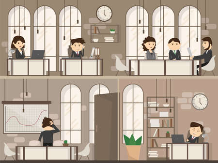 Office people with office desk and Business meeting or teamwork, brainstorming in flat style vector illustration - Creative Workplace Space two floors