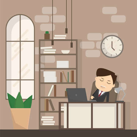 Businessman falling asleep at his work, business concept in sleeping, dozing, relaxing, take a break or lazy at working. Sleeping man in office. vector illustration