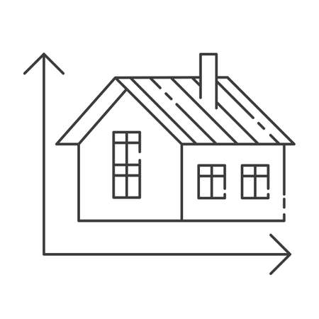 Vector illustration of modern icon depicting a home measurement concept. High quality black outline logo for web site design and mobile apps. Vector illustration on a white background. Illustration