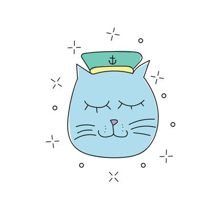 Hand drawn vector illustration of a funny sailor cat in a cap, collar. Isolated objects on white background. Line drawing. Design concept for children and t-shirt print.