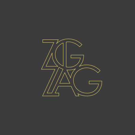logo template letters Z, zigzaz, in the style of a technical drawing with dimension lines on a black background. Vector illustration