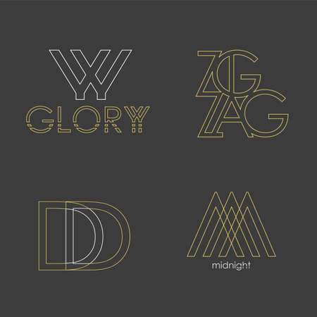 Set of 4 vector logos. Abstract Letters in a linear gold style