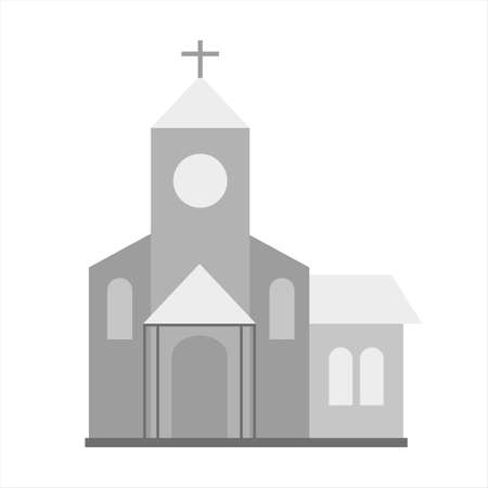Church icon. Gray monochrome illustration of church vector icon for web