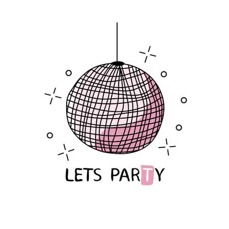 Retro disco ball. Vector illustration for your graphic design. Design for t-shirt and prints Illustration