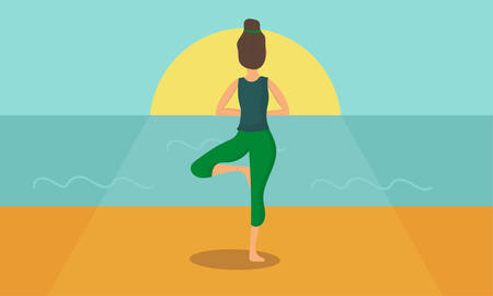Woman acts yoga silhouetted against the sunrise. Simple flat Vector illustration. Ilustração