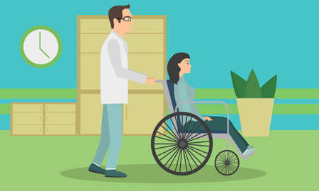 Woman in a wheelchair to be released from the hospital. The doctor is taking the patient in a wheelchair in the hospital