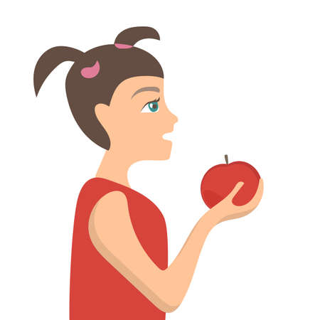 Vector cute little girl with red apple - simple Flat Vector Illustration