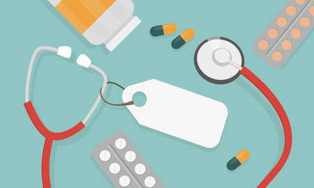 Top view of doctor workplace. Medical stethoscope and pills. Vector illustration in flat style. Medical concept