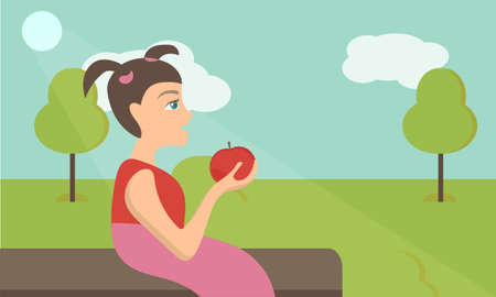 Vector cute little girl with red apple in park - simple Flat Vector Illustration