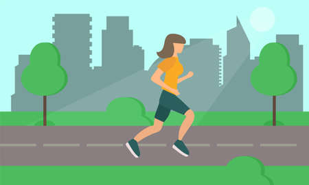 Woman Running on Road in City Park. Vector. Simple flat design