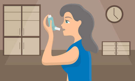 Woman using a spray inhaler to stop asthma attack. Bronchial disease awareness concept. Vector illustration. Illustration