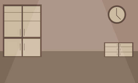 Empty room with cupboard, chest of drawers and clock on the wall. Interior vector background.