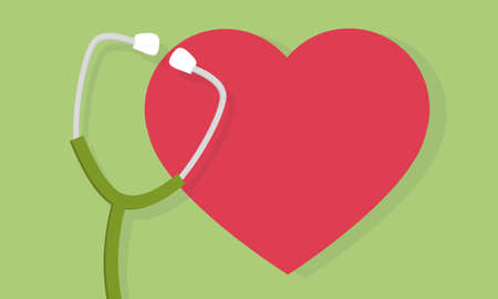 Stethoscope and heart icon or sign. Pulse care symbol. Element for medicine design. Vector illustration.