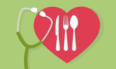 Fork spoon and knife with heart shape lovely food logo and a stethoscope medical concept. Cutlery sign.
