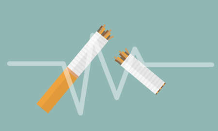Broken cigarette vector flat icon design on white background. Element for logo. Not smoking area. Stop smoking.