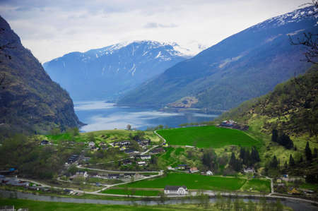Village in Flam - Norway - nature and travel mountains background