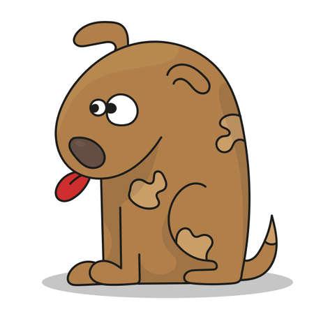 Happy cartoon puppy sitting, cute little dog. Dog friend. Vector illustration. Isolated on white background. Stock Illustratie